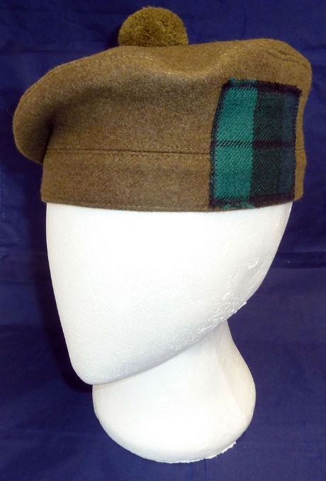Scottish Military Tam O'Shanter hat available with governemt tartan patch and various head linings. Also the option to include a cap badge and hackle of your choice.